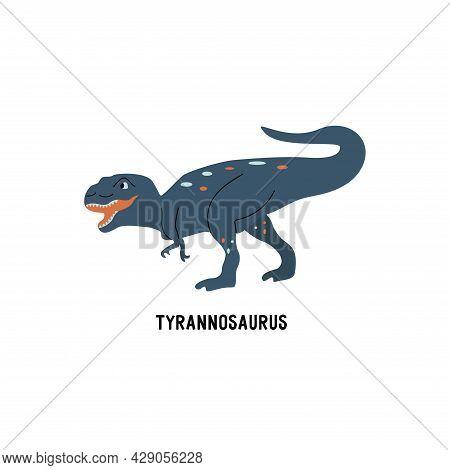 Tyrannosaurus Rex Dinosaur. Large Extinct Ancient Carnivorous Reptile, Jurassic. Roar Card. Colorful