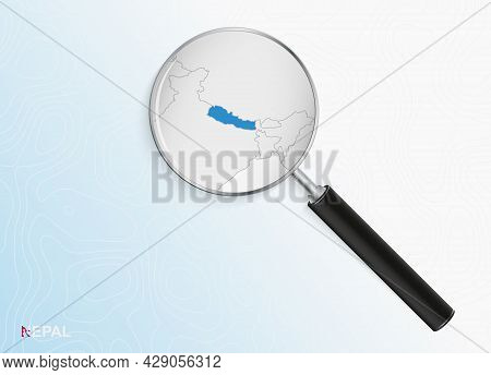 Magnifier With Map Of Nepal On Abstract Topographic Background. Vector Map.