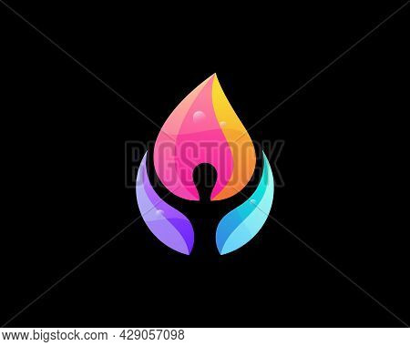 Person Fire Logotype. Human Flame Vibrant Gradient Vector Logo.