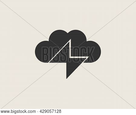 Cloud With Lightning Logo Design Template. Minimalistic Energy, Power, Thunderstorm Flat Vector Icon