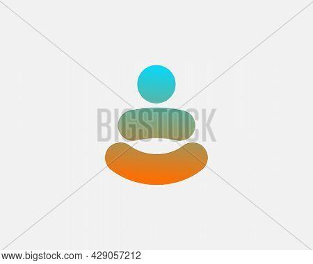Abstract Gradient Yoga Man Logo Template. Person Balance Harmony Zen Meditation Logotype. Creative S