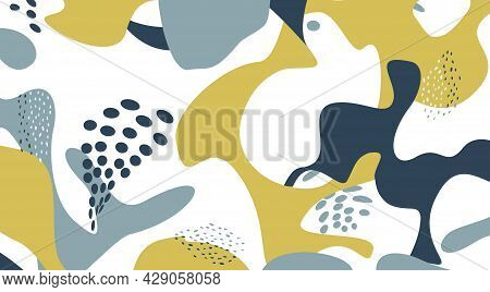 Floral Dotted Pattern With Droplets. Fall Nature Ornamental Drawn Texture. Flourish Orgnic Abstract