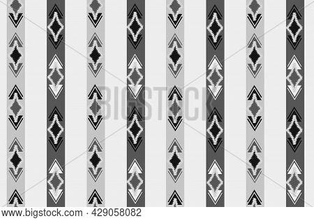 Abstract Ethnic Ikat Seamless Pattern. Geometric Ornamental Stripy Print. Wallpaper Tribal Decor. Tr