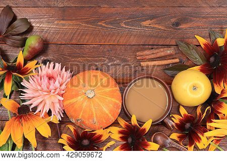 Autumn Flower Arrangement, Abstract Background Flat Lay, Minimal Holiday Concept. Thanksgiving Card