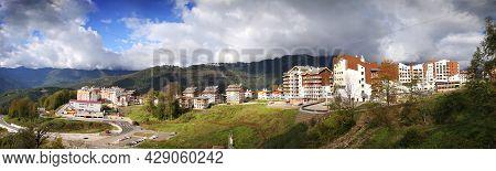 Caucasus Mountains On Krasnaya Polyana, The Village Rosa Khutor, Winter Sports Resort Of Sochi, Kras