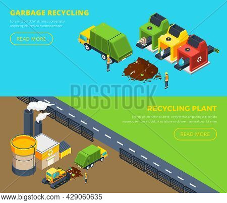 Horizontal Isometric Banners Of Garbage Recycling With Sorting Lines And Plant With Factory Territor
