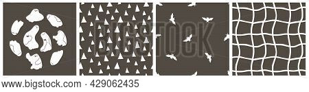 Set Of Halloween Simple Childish Seamless Patterns And Ghosts Concept. Vector White Ghosts, Vampire