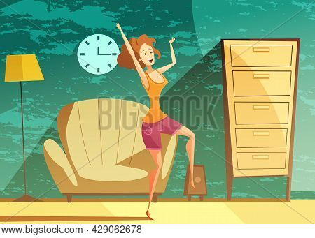 Young Girl Dancing Alone At Home Late In The Evening With Beautiful Emerald Green Background Vector