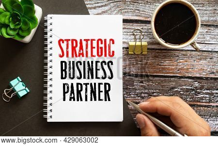 Financial Diagram On White Big Notepad, Green Book And Paper Sheet With Text Strategic Business Part