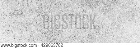 Panorama Of White Grey Concrete Texture, Rough Cement Stone Wall, Surface Of Old And Dirty Outdoor B