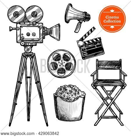 Cinema And Making Films Hand Drawn Vintage Set With Clapper Reel Camera Chair Loudspeaker And Popcor