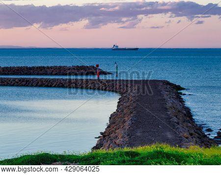Breakwater Wall At Twilight - Portarlington, Victoria, Australia