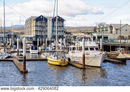 Launceston, Tasmania, Australia - September 14, 2017: Mooring Boats In The Alexandra Walk Marina On