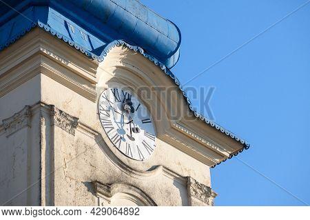 Close Up On Church Clocktower Steeple Of The Serbian Orthodox Church Of Vlajkovac, Voivodina, Serbia