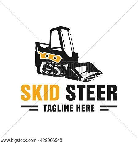 Skid Steer Heavy Equipment Illustration Logo Design