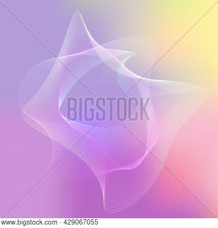 Shape With Turbulent Curves. Blended Lines On Multiple Colored Background. Vector Illustration