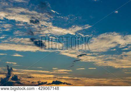 Amazing Pink Purple Sky During Sunset Over Beautiful Natural View Of Heaven Late Sunset A Brilliancy