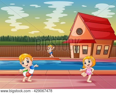 Happy Children Playing At Poolside In A Resort Or Hotel
