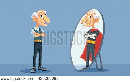 Grandpa Seeing A Super Powerful Man In The Mirror Reflection