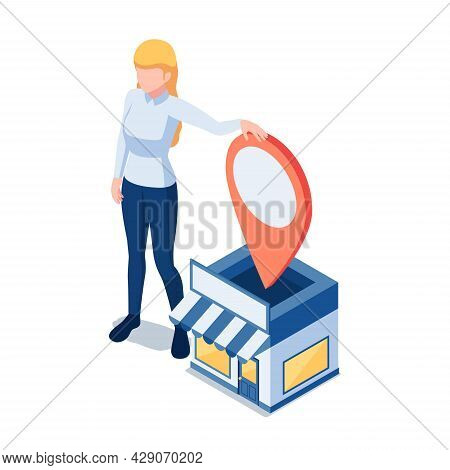 Flat 3d Isometric Woman Owner Standing At Her Shopping Store With Gps Location Pin. Store Location A