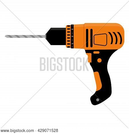 Repair Tool Drill, Color Vector Isolated Illustration.