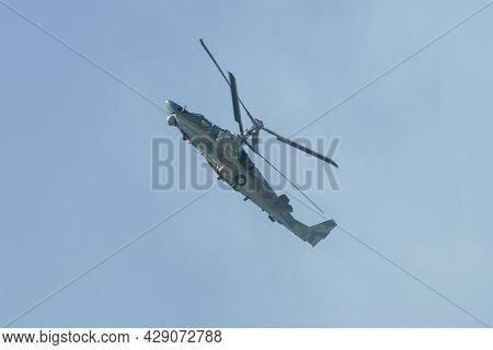 Zhukovsky, Russia - August 30, 2019: Russian Reconnaissance And Attack Helicopter K-52
