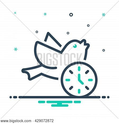 Mix Icon For Early Morning Before-noon Dawn Daybreak Daylight Sunrise Daytime Bird Fly