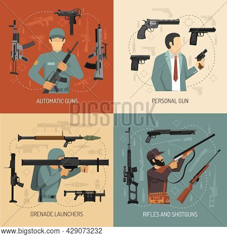Armed Men With Weapons Guns Grenade Launchers And Pistols 2x2 Flat Design Concept Isolated Vector Il
