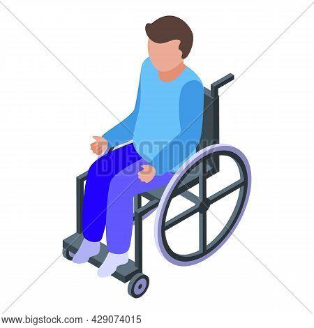 Boy Wheelchair Icon Isometric Vector. Disabled Child. Handicap Kid