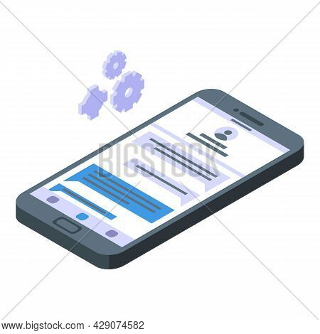 Smartphone Messaging Icon Isometric Vector. Chat Message. Phone Sms