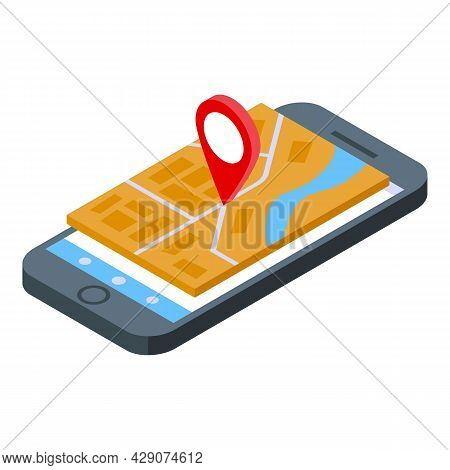 Phone Gps Map Icon Isometric Vector. Mobile Route. Screen App