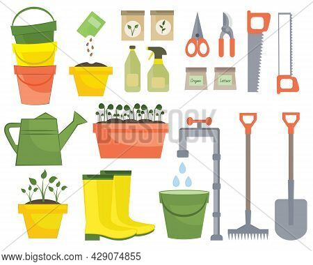 Garden Tools Isolated On White Background. Spring Farming Icons. Set Of Gardening Elements In Hand D