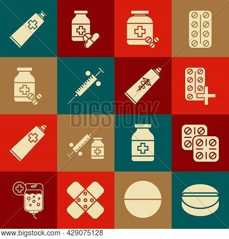 Set Medicine Pill Or Tablet, Pills Blister Pack, Bottle And Pills, Syringe, Ointment Cream Tube Medi