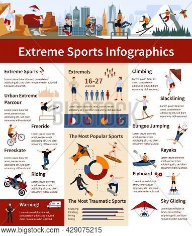 Flat Design Infographics Presenting Information About Popular And Most Traumatic Extreme Sports Vect