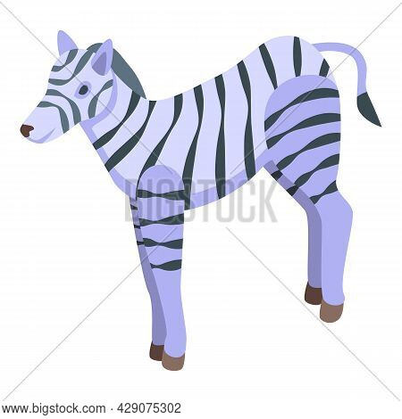Safari Zebra Icon Isometric Vector. Africa Animal. Jungle Zebra
