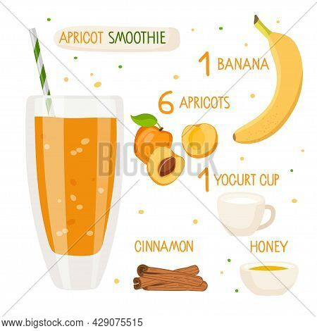 Apricot Smoothie Recipe. Apricot Glass With Ingredients. Glass With Orange Liquid. Fruits, Cup Of Yo