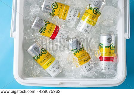Zhongshan Guangdong China-july 17 2021:coca-colas New Product Topo Chico Hard Seltzer With Ice In A