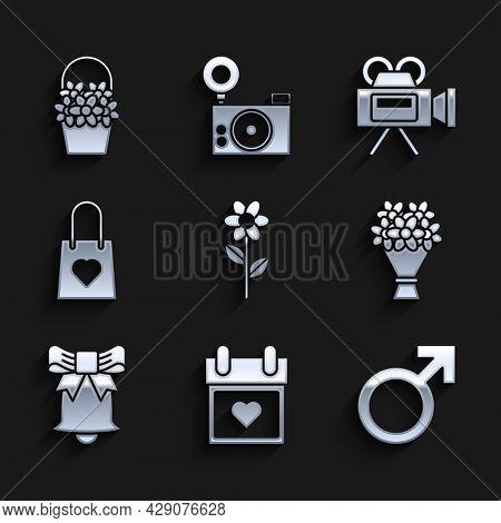 Set Flower, Calendar With Heart, Male Gender Symbol, Bouquet Of Flowers, Ringing Bell, Shopping Bag,