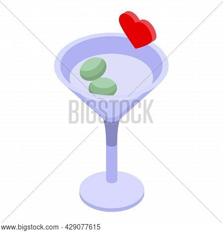 Night Cocktail Icon Isometric Vector. Party Bar. Ice Drink