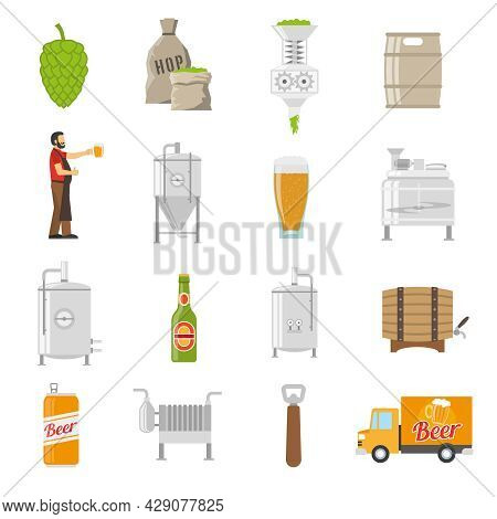 Brewery Icons Set. Brewery Vector Illustration. Brewery Flat Symbols. Brewery Design Set. Brewery El