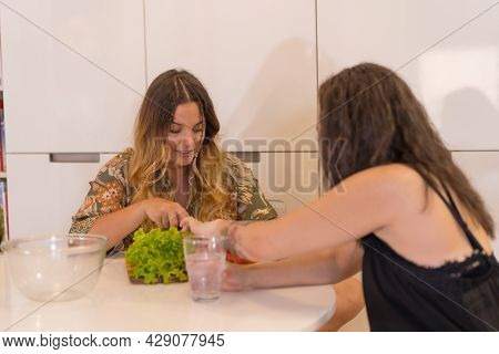 A Lgbt Couple Of Girls Preparing A Salad In The Kitchen At Home, Lesbian Girls Couple, Girls Relatio