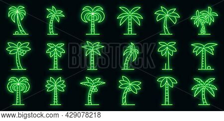 Palm Icons Set. Outline Set Of Palm Vector Icons Neon Color On Black