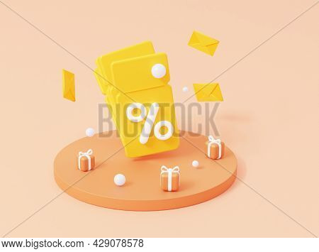 3d Coupon With Percent And Gifts On Podium. 3d Render.