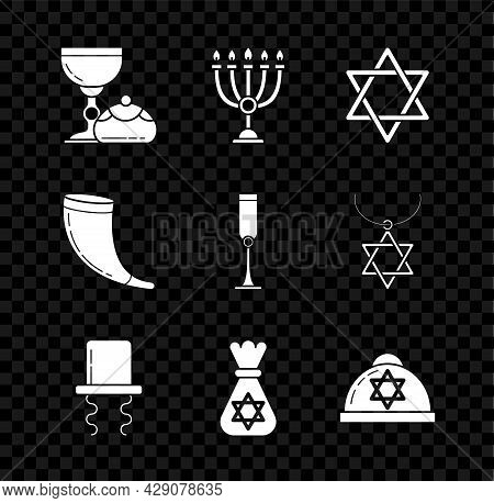 Set Jewish Goblet And Hanukkah Sufganiyot, Hanukkah Menorah, Star Of David, Orthodox Jewish Hat With