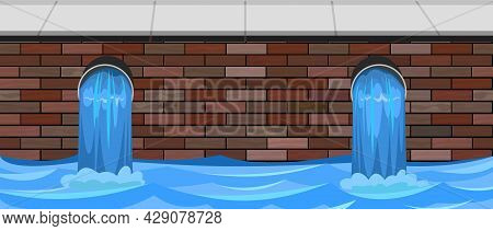 Sewage Discharge. Water Treatment Facilities. Eco-protective Structure. Drainage Of Dirty Liquid Or