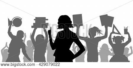 Silhouette Of Teacher On Background Of Cheerful Crowd Of School Children Or Pupils With School Suppl