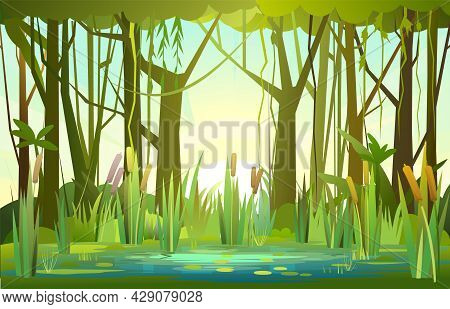 Summer Forest Landscape With A Pond. Bank Of A River Or Lake. Morning Sunrise. Trees And Thickets. S