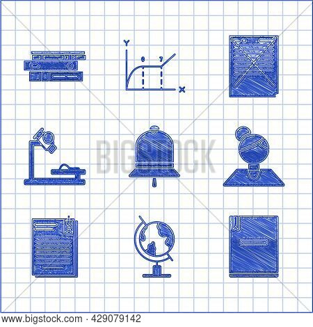 Set Ringing Bell, Earth Globe, Notebook, Teacher, File Document And Paper Clip, Microscope, Exam Wit