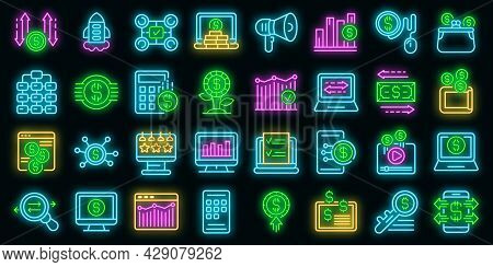 Monetization Icons Set. Outline Set Of Monetization Vector Icons Neon Color On Black