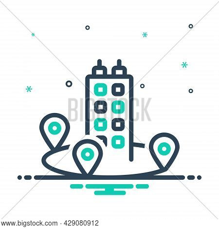 Mix Icon For Near Adjacent Nigh Adjoining Immediate Neighboring Nearby Closely Location Building
